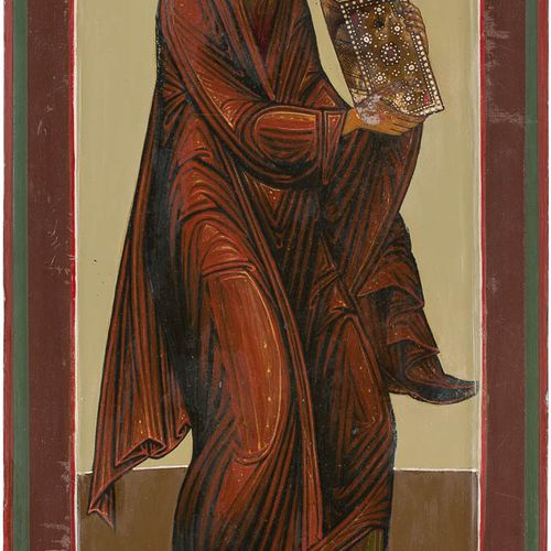 A LARGE ICON SHOWING THE APOSTLE JAMES THE GREAT FROM A CHURCH ICONOSTASIS Russi…