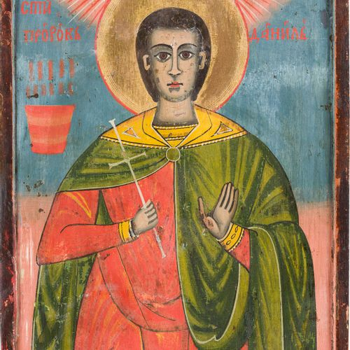 AN ICON SHOWING THE PROPHET DANIEL Bulgarian, 19th century Tempera on wood panel…