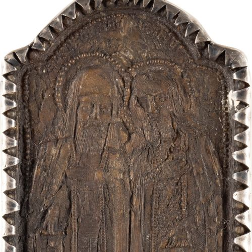 A DOUBLE SIDED BREAST ICON SHOWING THE KOZHELTCHANSKAYA MOTHER OF GOD AND STS. A…