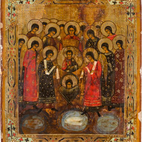 AN ICON SHOWING THE SYNAXIS OF THE ARCHANGELS Russian, late 19th century Tempera…