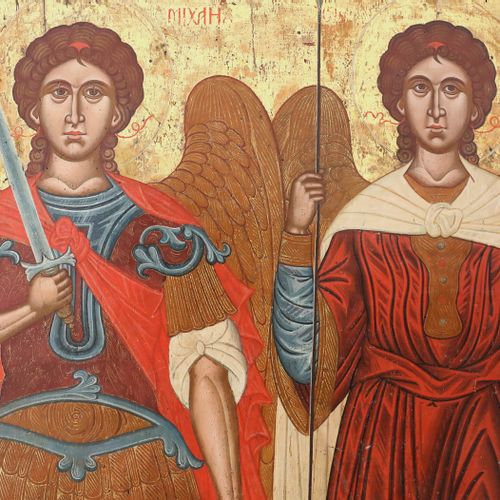 A MONUMENTAL DATED ICON SHOWING THE ARCHANGELS MICHAEL AND GABRIEL Greek, dated …