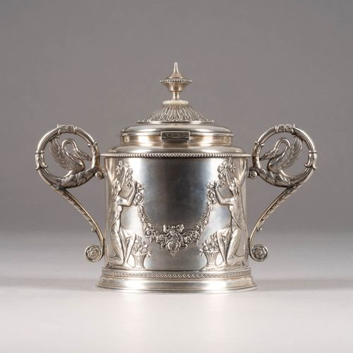 A HANDLED SUGAR BOWL WITH COVER Russian, Moscow, Ivan Khlebnikov, 1908 1917 The …