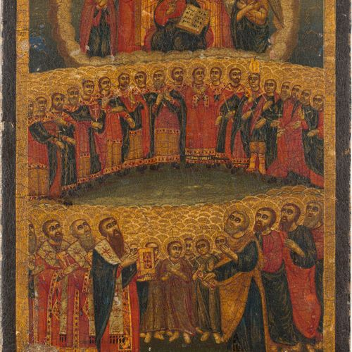 AN ICON 'ALL SAINTS' Greek, 19th century Oil on wood panel. The haloes made of g…