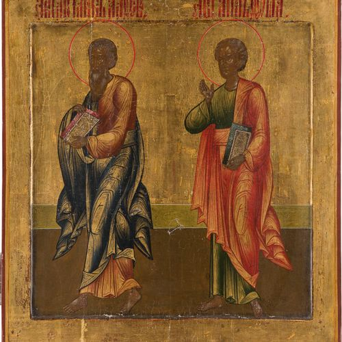 A LARGE ICON SHOWING THE APOSTLES JAMES THE GREAT AND THOMAS FROM A CHURCH ICONO…
