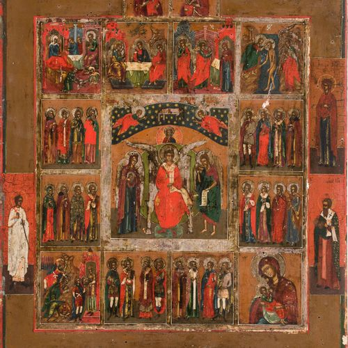 A LARGE ICON SHOWING ST. SOPHIA, THE WISDOM OF GOD, IMAGES OF THE MOTHER OF GOD,…