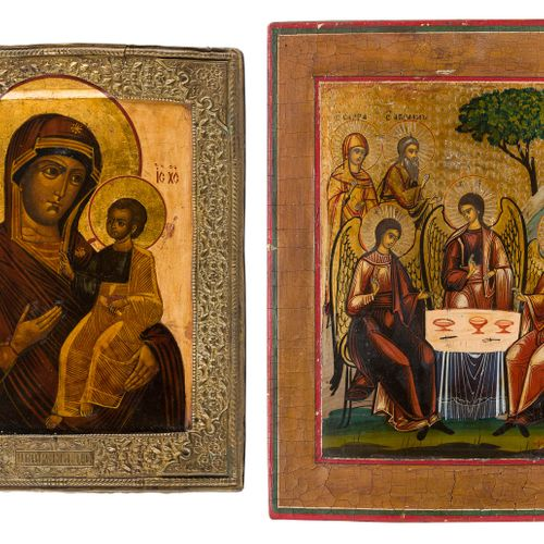 TWO ICONS SHOWING THE IVERSKAYA MOTHER OF GOD WITH BASMA AND THE OLD TESTAMENT T…