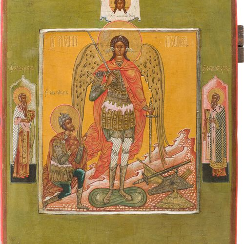 A VERY RARE ICON SHOWING THE ARCHANGEL MICHAEL AND JOSHUA, SON OF NUN Russian, P…