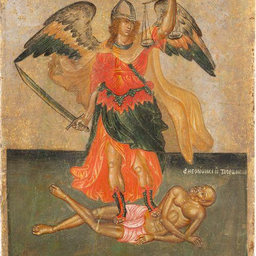 A FINE ICON SHOWING THE ARCHANGEL MICHAEL PSYCHOPOMP Greek, Cretan, 16th century…