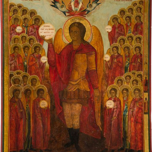 A MONUMENTAL ICON SHOWING THE SYNAXIS OF THE ANGELS Russian, Vetka, 19th century…