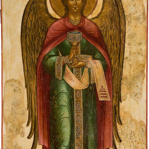 A MONUMENTAL ICON SHOWING THE ARCHANGEL GABRIEL FROM A CHURCH ICONOSTASIS Russia…