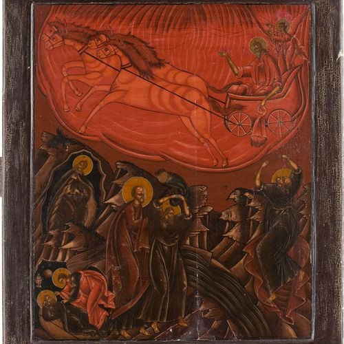 A LARGE ICON SHOWING THE PROPHET ELIJAH AND HIS FIERY ASCENT TO HEAVEN Russian, …