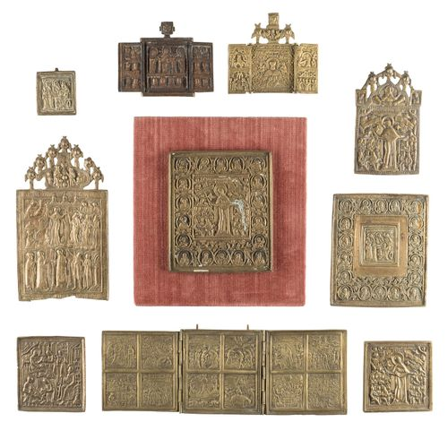 THREE TRIPTYCHS SHOWING DEISIS, SELECTED SAINTS AND MAIN FEASTS OF THE ORTHODOX …