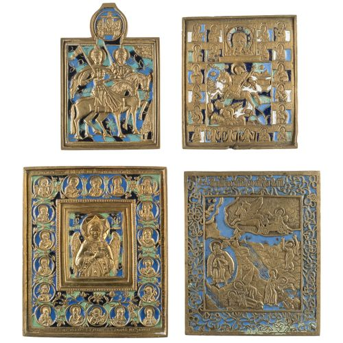 A COLLECTION OF FOUR BRASS AND ENAMEL ICONS SHOWING SELECTED SAINTS Russian, 18t…