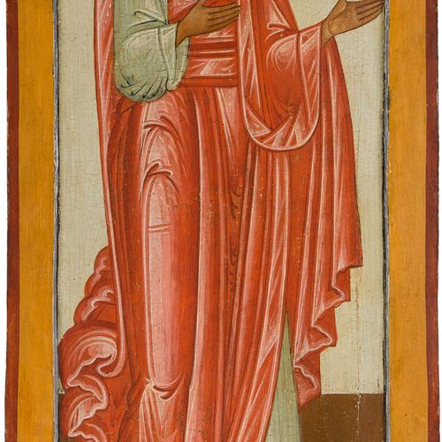 A MONUMENTAL ICON SHOWING THE APOSTLE THOMAS FROM A CHURCH ICONOSTASIS Russian, …