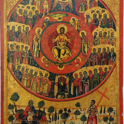 A MONUMENTAL DATED ICON SHOWING 'ALL SAINTS' Greek, dated 1702 Tempera on wood p…