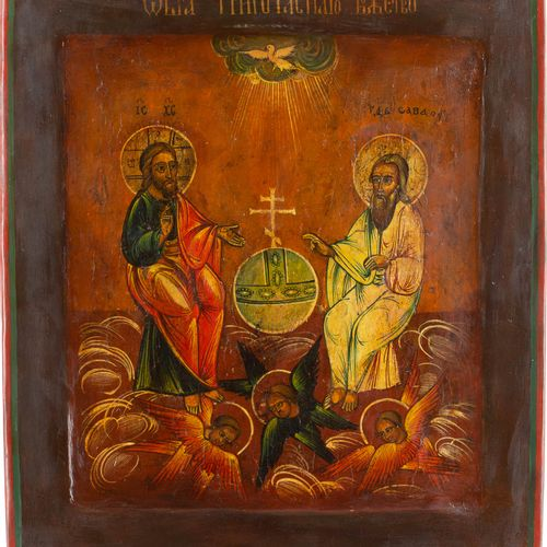 AN ICON SHOWING THE NEW TESTAMENT TRINITY Russian, 19th century Tempera on wood …