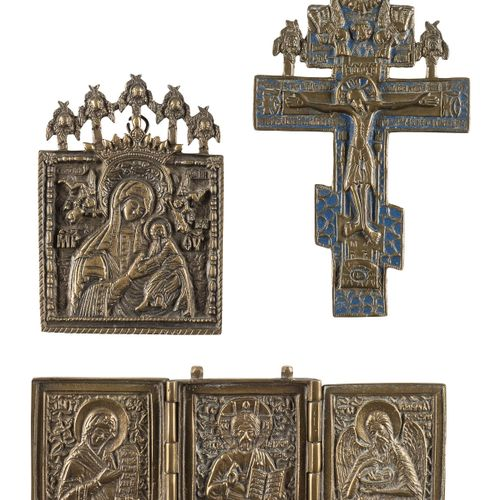 A CRUCIFIX, A TRIPTYCH AND A SMALL BRASS ICON SHOWING THE MOTHER OF GOD OF THE P…