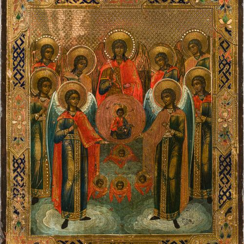 AN ICON SHOWING THE SYNAXIS OF THE ARCHANGELS Russian, circa 1900 Oil on wood pa…