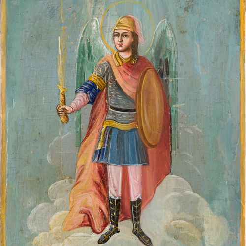 A SMALL ICON SHOWING THE ARCHANGEL MICHAEL Russian, 19th century Oil on wood pan…