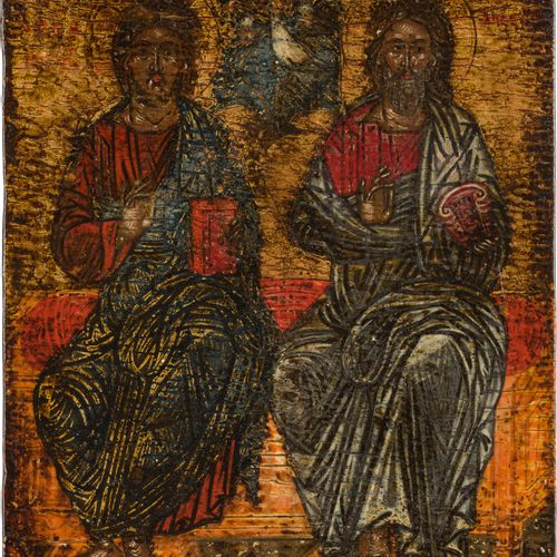 A SMALL ICON SHOWING THE NEW TESTAMENT TRINITY Greek, 17th century Tempera on wo…