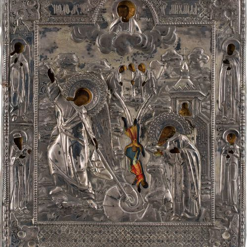 A FINE ICON SHOWING THE MIRACLE OF THE ARCHANGEL MICHAEL AT CHONAI WITH A SILVER…