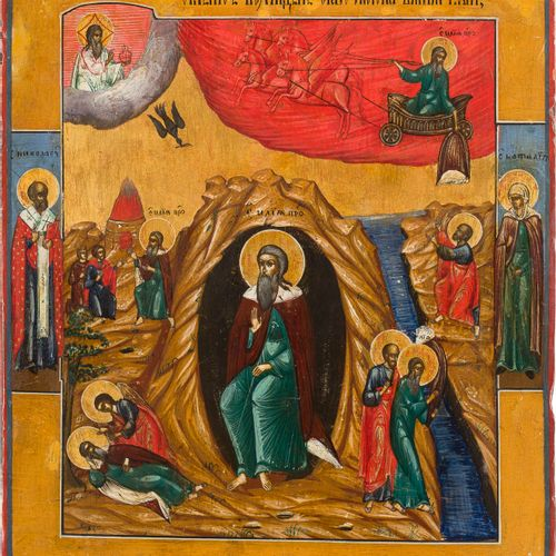 A LARGE ICON SHOWING THE PROPHET ELIJAH, HIS LIFE IN THE DESERT AND HIS FIERY AS…