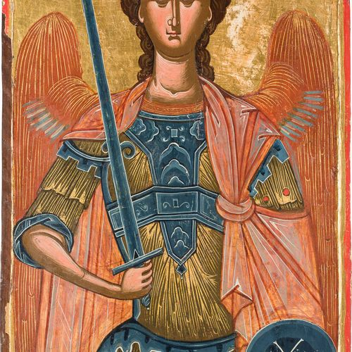 A MONUMENTAL ICON SHOWING THE ARCHANGEL MICHAEL Macedonian, circa 1600 Tempera o…