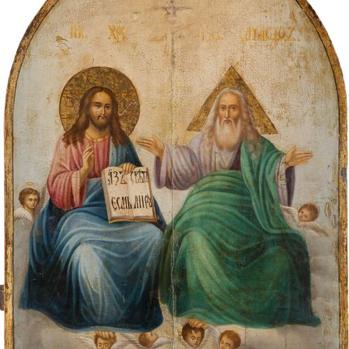 A LARGE ICON SHOWING THE NEW TESTAMENT TRINITY Russian, mid 19th century Oil on …