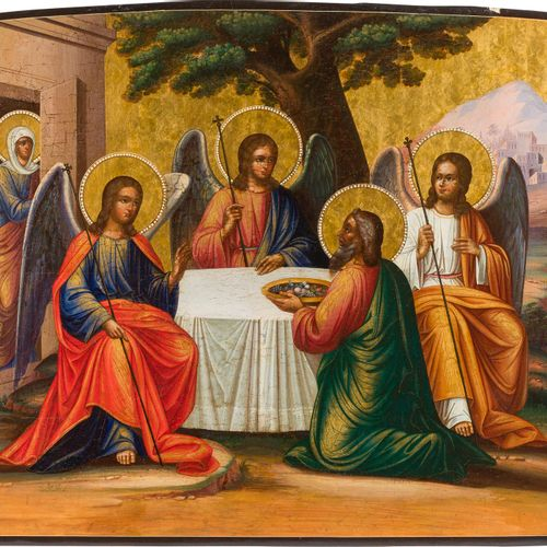 A MONUMENTAL ICON SHOWING THE OLD TESTAMENT TRINITY Russian, circa 1875 Tempera …
