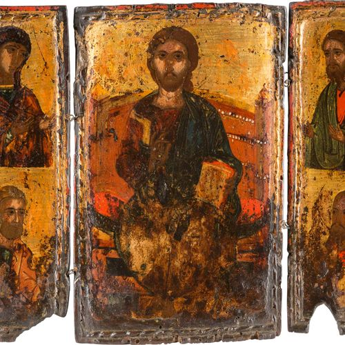A TRIPTYCH SHOWING THE DEISIS AND STS. PETER AND PAUL Mainland Greece, circa 140…
