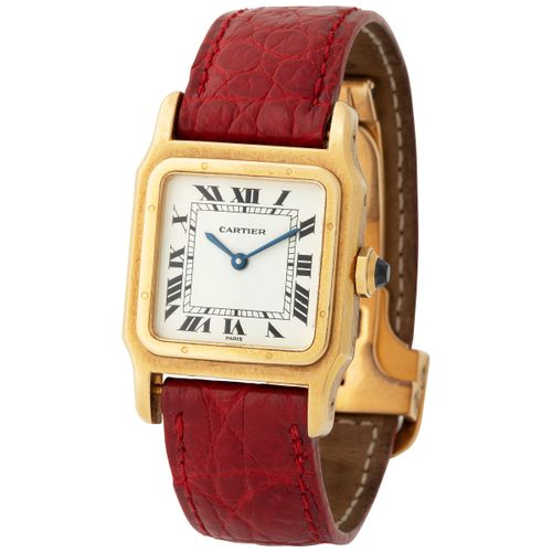 Cartier. Very Elegant Santos Square Shape Wristwatch in Yellow Gold, With Black …