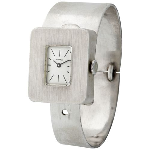 Hermes. Unusual and Super Cool Rectangular Shaped Bracelet Wristwatch in Silver …