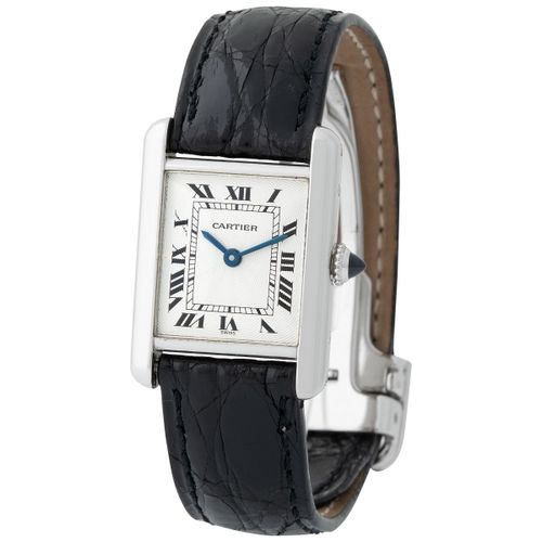 Cartier. Fine and Charming Tank Wristwatch in Platinum, Reference 1611 1 With Ro…