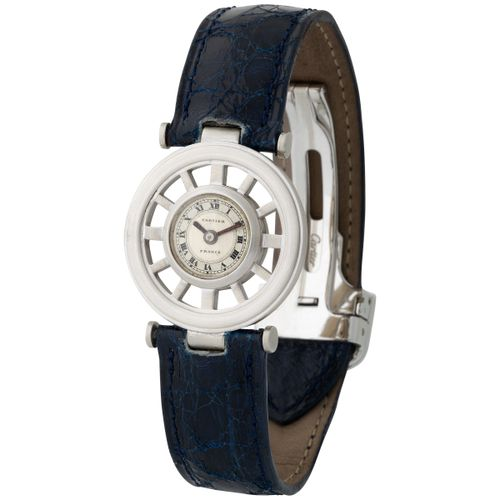 Cartier. Fine and Charming Round Squelette Gouvernail Shape Wristwatch in White …