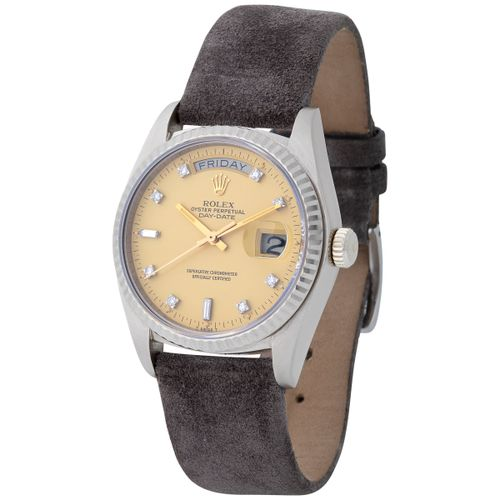 Rolex. Extremely Well Preserved and Rare Day Date Automatic Wristwatch in White …