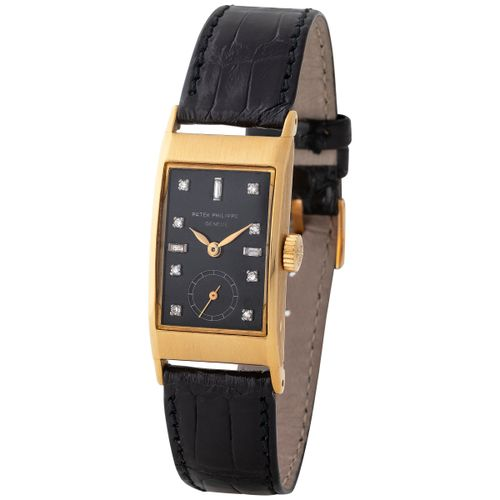 Patek Philippe. Special and Graceful Tegolino rectangular shape Wristwatch in Ye…