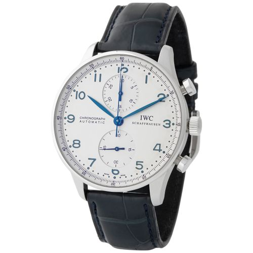 IWC. Tasteful and Refined Portugieser Chronograph Wristwatch in Steel, Reference…
