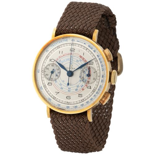 Omega. Fine and Special Chronograph Wristwatch in Yellow Gold, Reference 2088, W…