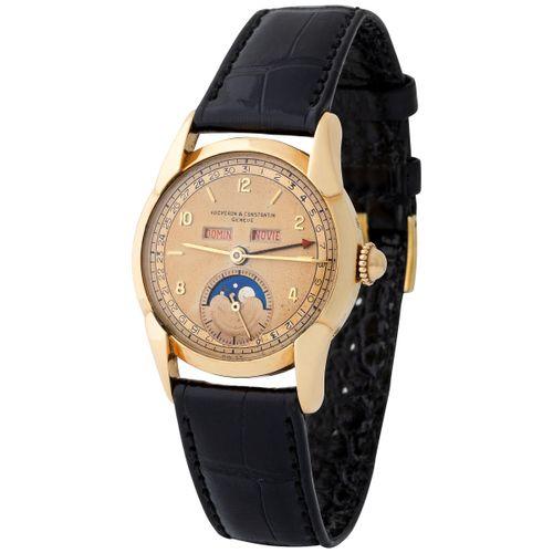 Vacheron Constantin. Very Elegant and Rare Triple Calendar Wristwatch in Yellow …