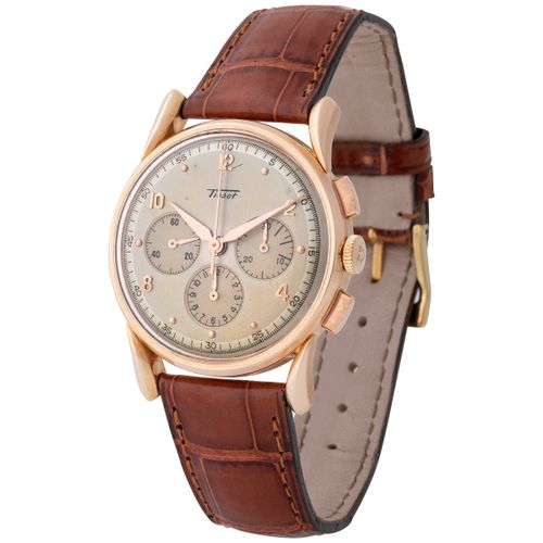 Tissot. Elegant and Unusual Chronograph Wristwatch in Pink Gold, With Fancy Lyre…