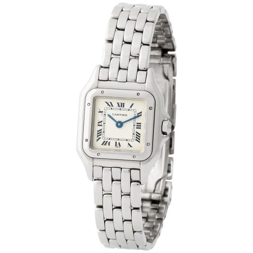 Cartier. Very Elegant Panthere Square Shape Wristwatch in White Gold, With Black…
