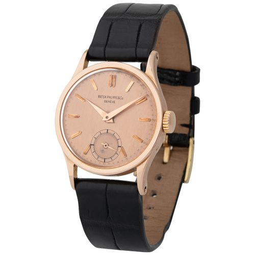 Patek Philippe. Tasteful and Sophisticated Calatrava Wristwatch in Pink Gold, Re…
