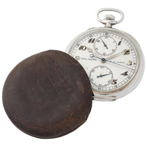 Patek Philippe. Very Rare and Fine Open Face Monopusher Chronograph Pocket Watch…