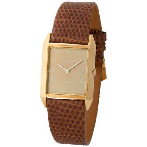 "Patek Philippe. Fine and Elegant ""Skater"" Rectangular shape Wristwatch in Yellow…"