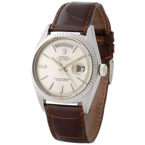 Rolex. Special and Refined Day Date Automatic Wristwatch in White Gold, Referenc…