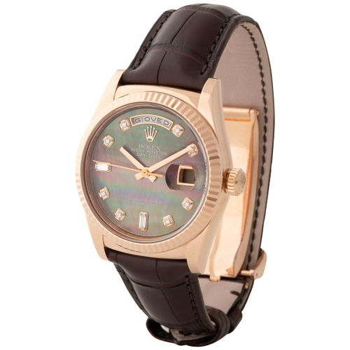 Rolex. Charismatic and Colorful Day date Automatic Wristwatch in Pink Gold, Refe…