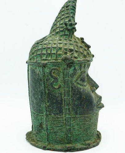 Tête commémorative d'ancêtre royal Oba Bini / Edo Royaume du Bénin (Nigeria) Lai…