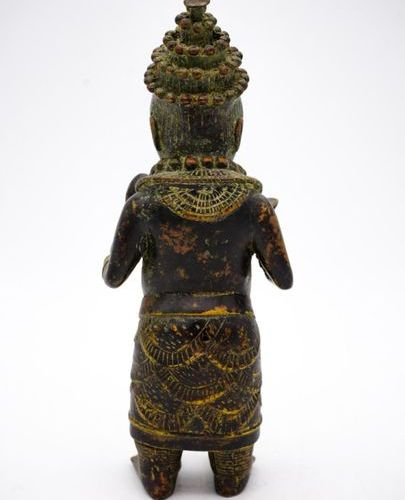 Nain de cour Bini Edo Royaume du Bénin (Nigeria) Laiton H. : 27,5 cm. Statue ant…