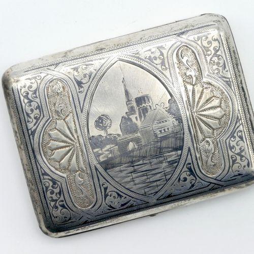 RUSSIA Late 19th century  Cigarette case in silver 875/1000e with engraved decor…