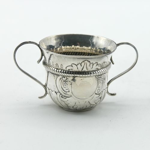 ENGLAND? LATE 19th early 20th CENTURY  English silver double handled mug with em…